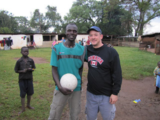 playing soccer on tour in Africa